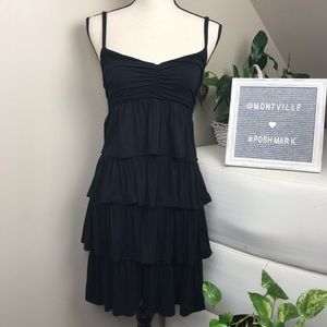 J Crew Small Black Spaghetti Strap Dress Ruffles